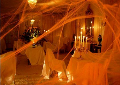 Halloween-Living-Room-Decorating-Ideas-Spider-Web-View