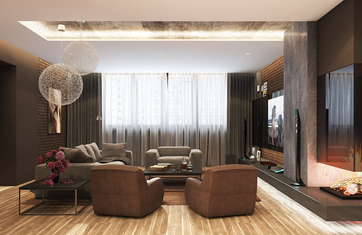 brown-and-concrete-living-room