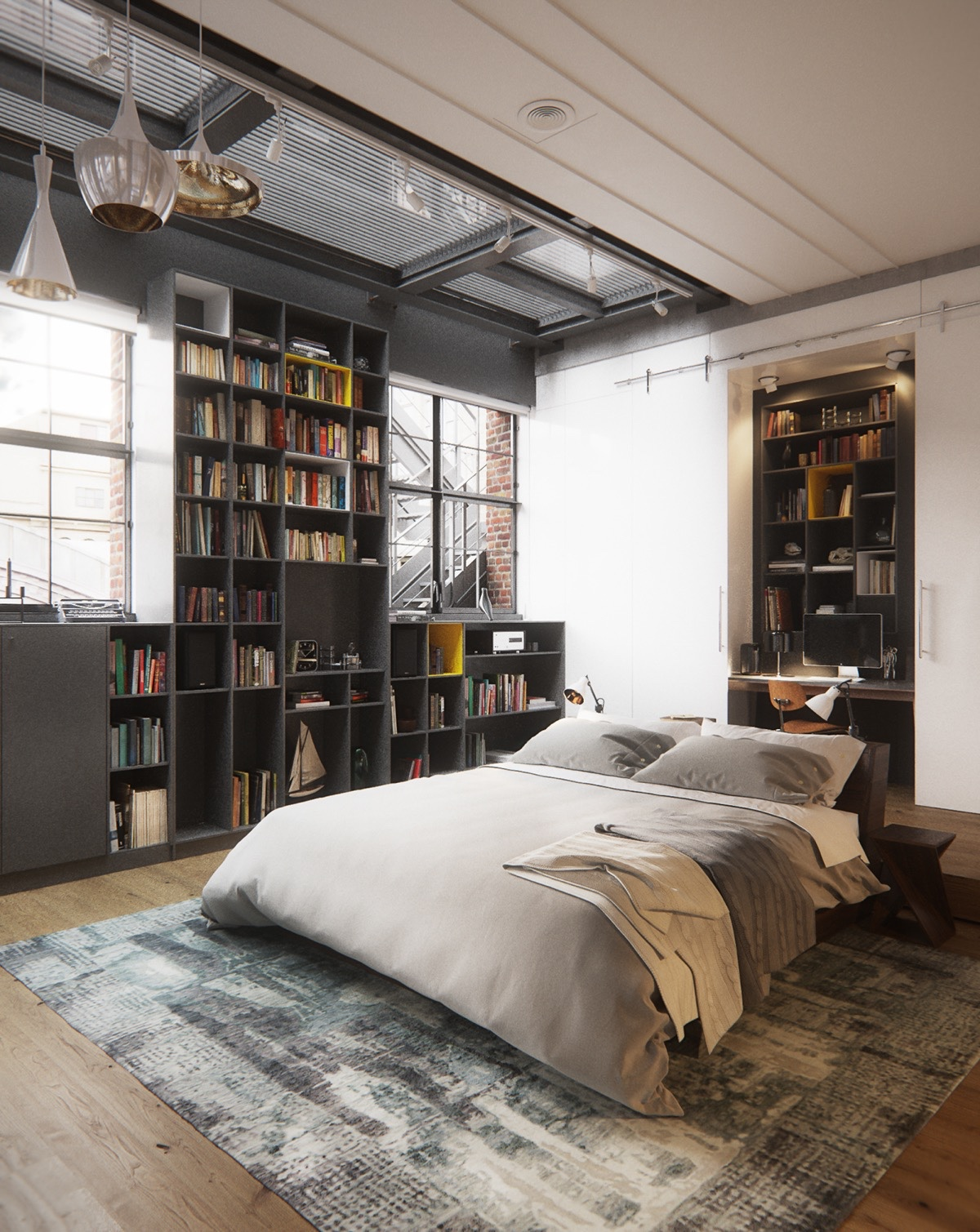 Cozy-Chic-Bedroom-New-York-City-Loft