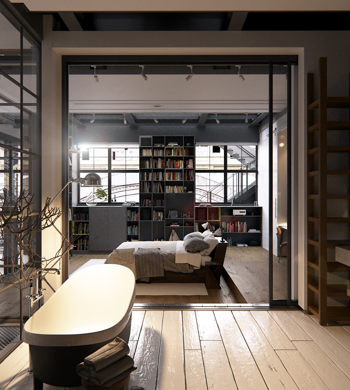Open-Bedroom-and-Bathroom-New-York-City-Loft