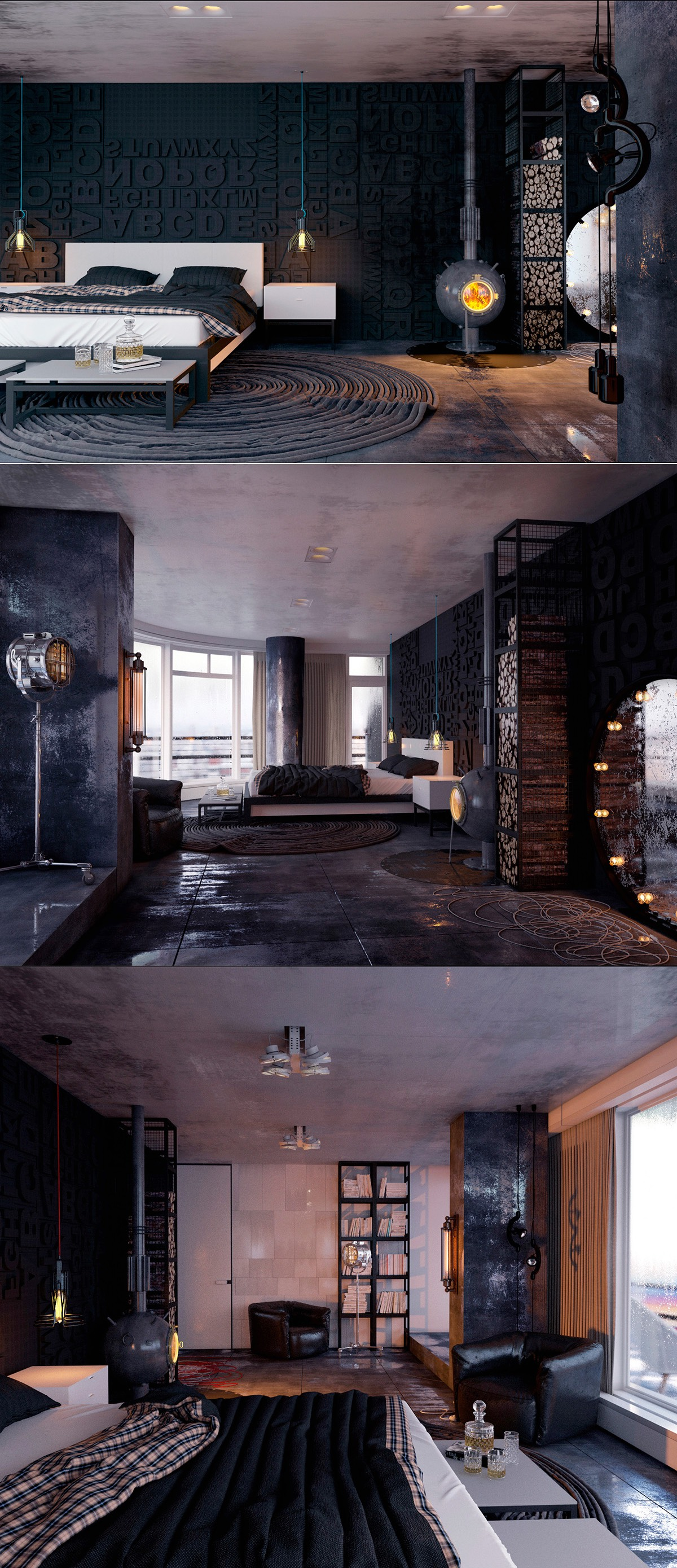modern-dark-black-lofty-bedroom-design