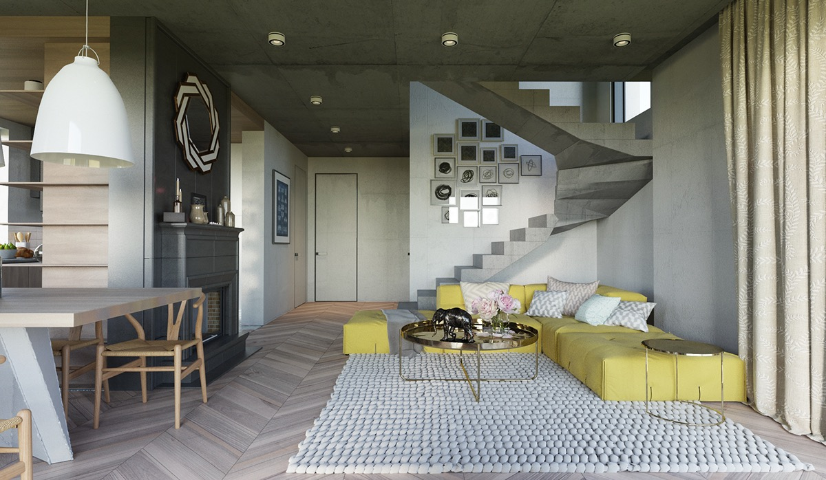 yellow-accents-in-concrete-interior
