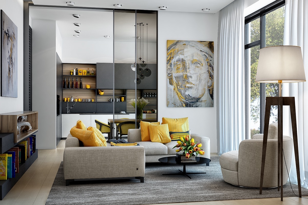 yellow-living-room-accents